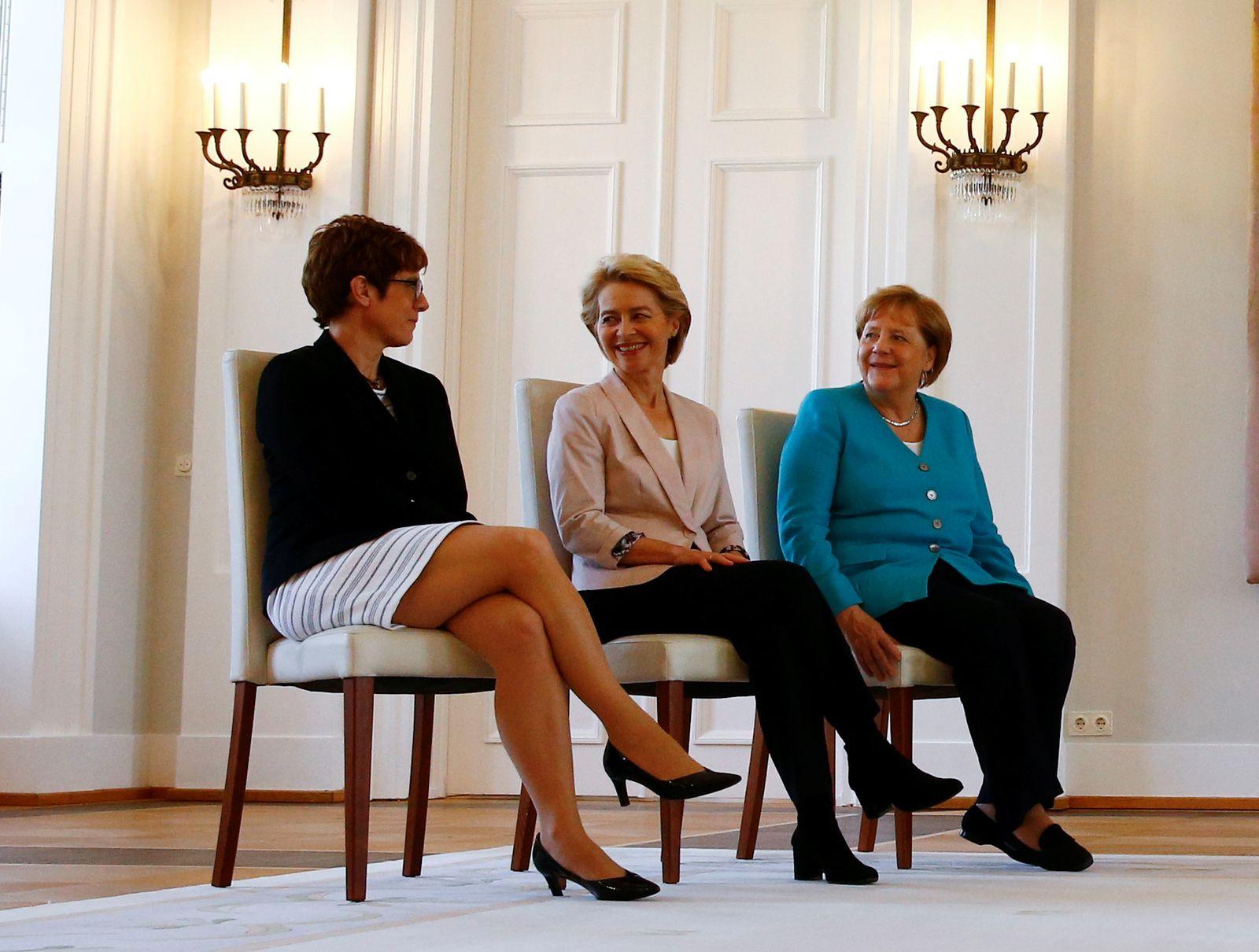 Annegret Kramp-Karrenbauer Angela Merkel Ursula von der Leyen