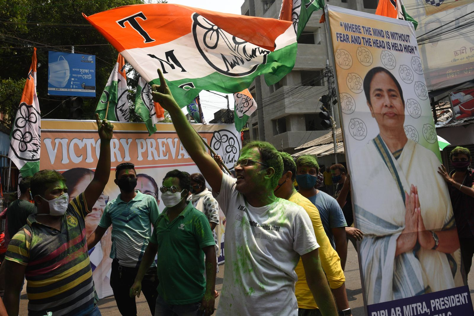 KOLKATA, INDIA - MAY 2: All India Trinamool Congress workers and supporters celebrate the victory in West Bengal Assemb