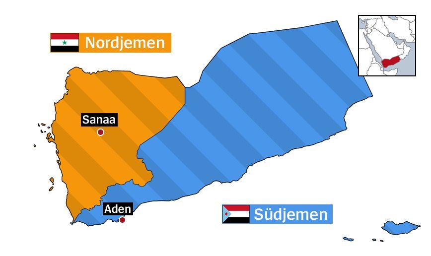Jemen Karte 1990