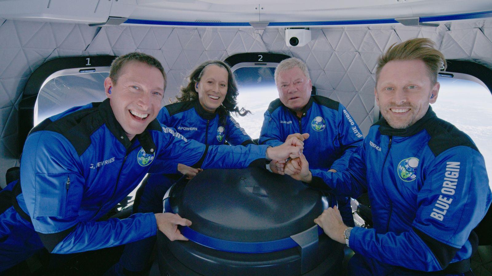 Star Trek actor William Shatner during the Blue Origin New Shepard mission NS-18