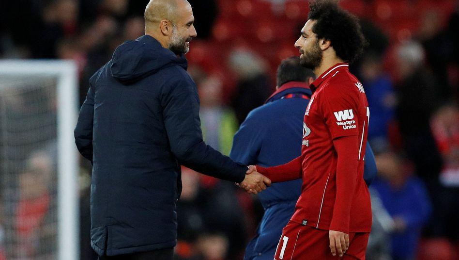 Guardiola gratuliert Salah, Salah gratuliert Guardiola