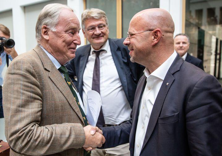 """AfD-Politiker Alexander Gauland, Jörg Meuthen und Andreas Kalbitz im September 2019: """"Hervorragende Parteiarbeit"""" geleistet"""