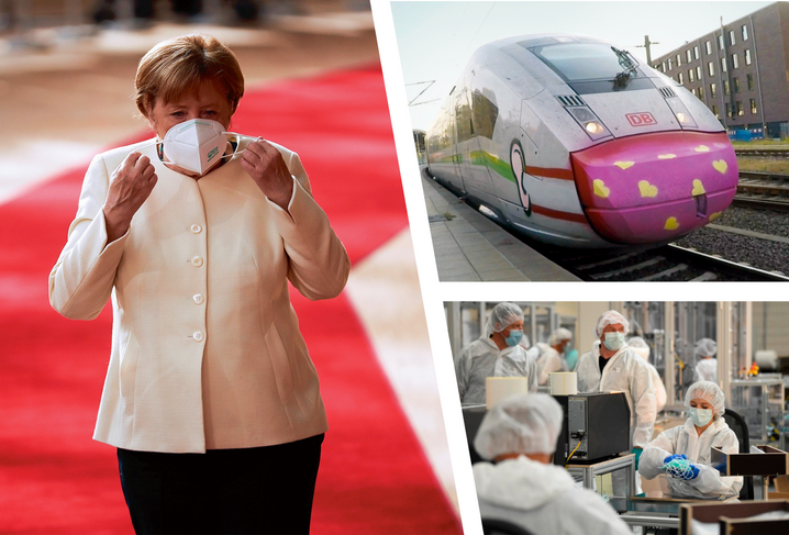 German Chancellor Angela Merkel with a face mask, a high-speed German train with a graffiti face mask, mask production in Germany: Politicians in the country are considering a widening of the mask requirement.