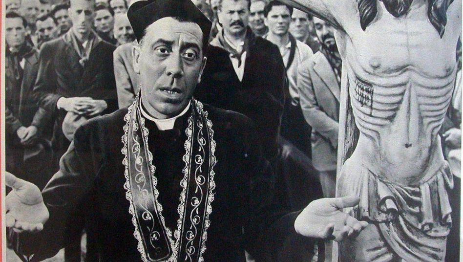 Filmplakat mit Don Camillo und sprechendem Christus