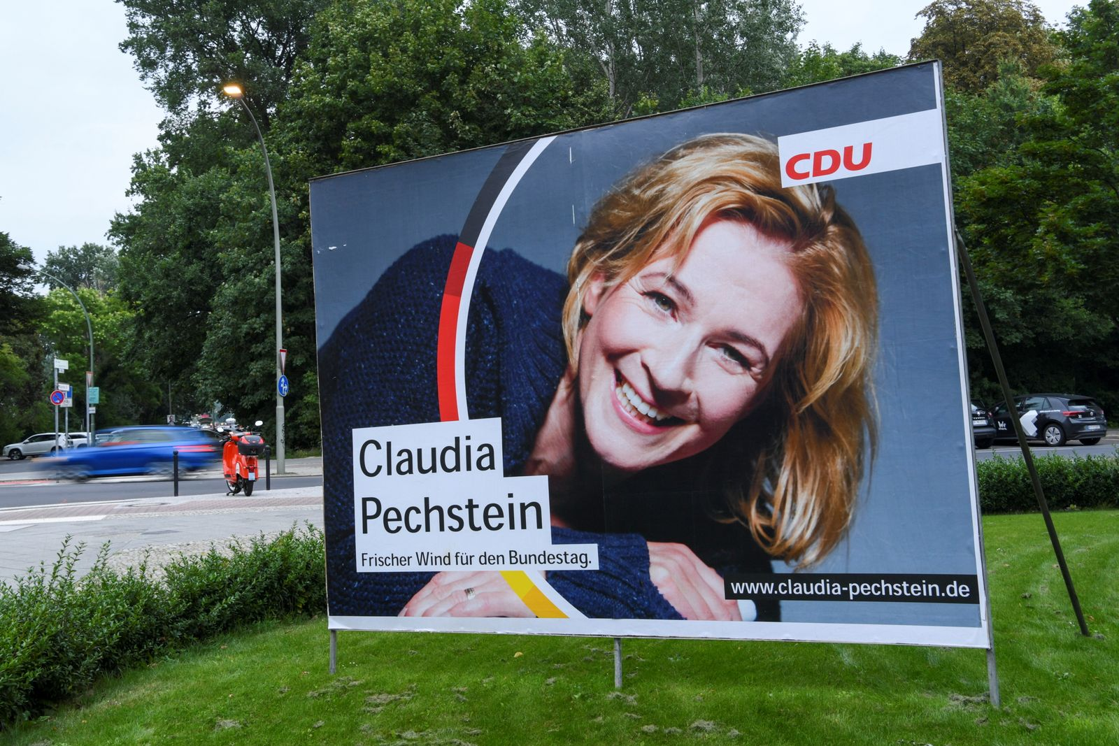 Speed skater Claudia Pechstein stands as a CDU candidate for a seat in the German Bundestag