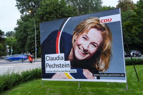 Wahlplakat mit Claudia Pechstein