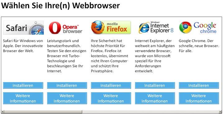 Das Auswahlfenster: Zwölf Browser-Anbieter buhlen um Nutzer. Fünf sind immer sichtbar, für die anderen muss man scrollen