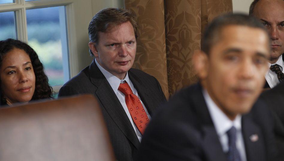 """Jim Messina bei einer Sitzung mit Barack Obama 2010: """"Wechselwähler interessieren sich nicht für Sozialismus"""""""