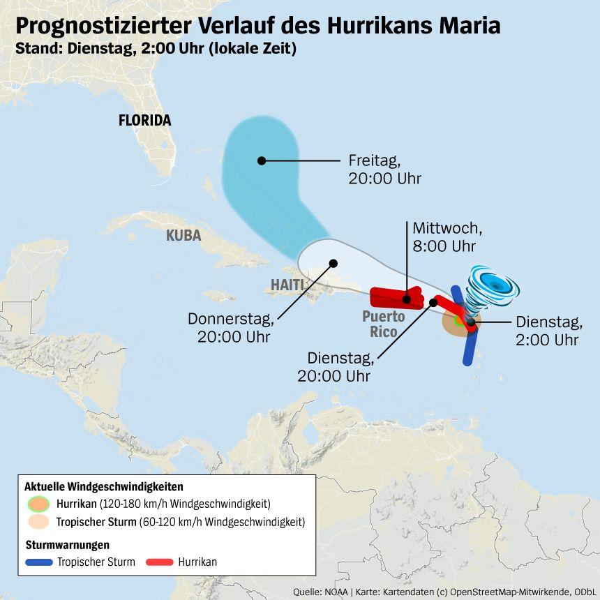 Karte Hurrikan Maria 19.09.2017 10:00 MEZ