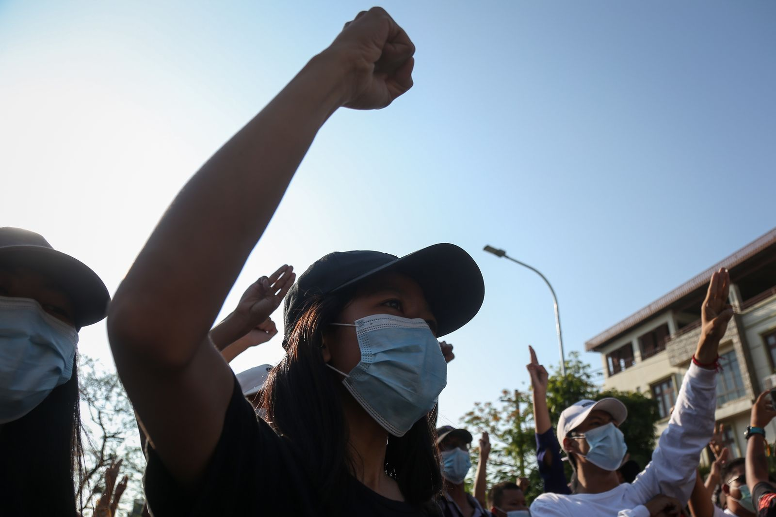 Protest against military coup in Mandalay
