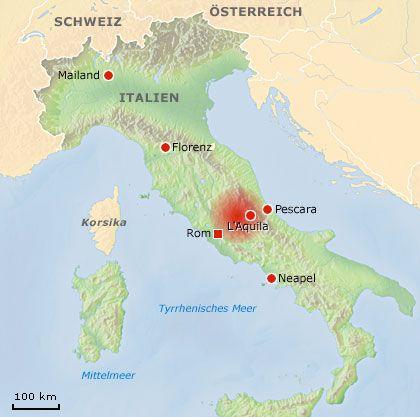 Karte von Mittelitalien: Das Epizentrum lag rund 85 Kilometer nordöstlich von Rom