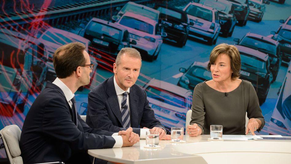 Klaus Müller, Herbert Diess, Maybrit Illner (v.l.)