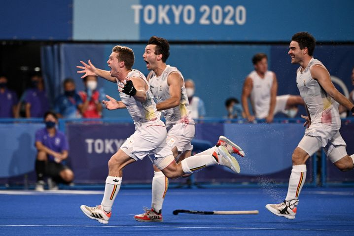 Belgiens Spieler jubeln über den Olympiasieg