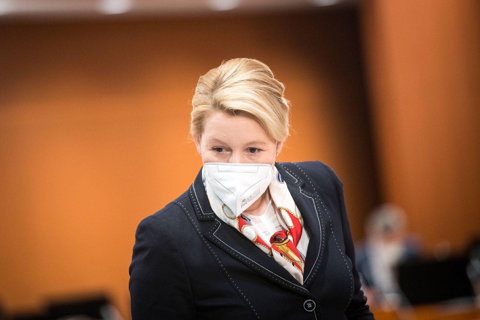 Bundesfamilienministerin Franziska Giffey (SPD) am 12. Mai 2021 bei der Kabinettsitzung der Bundesregierung im Kanzleram