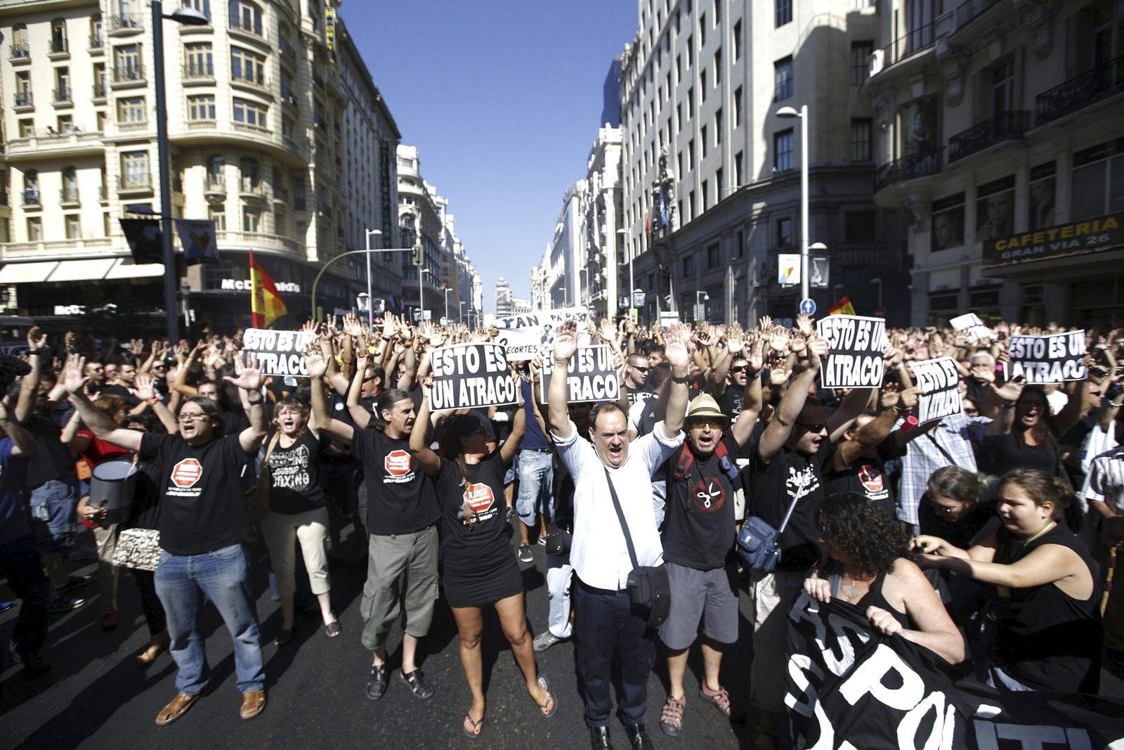 Proteste in Madrid Spanien