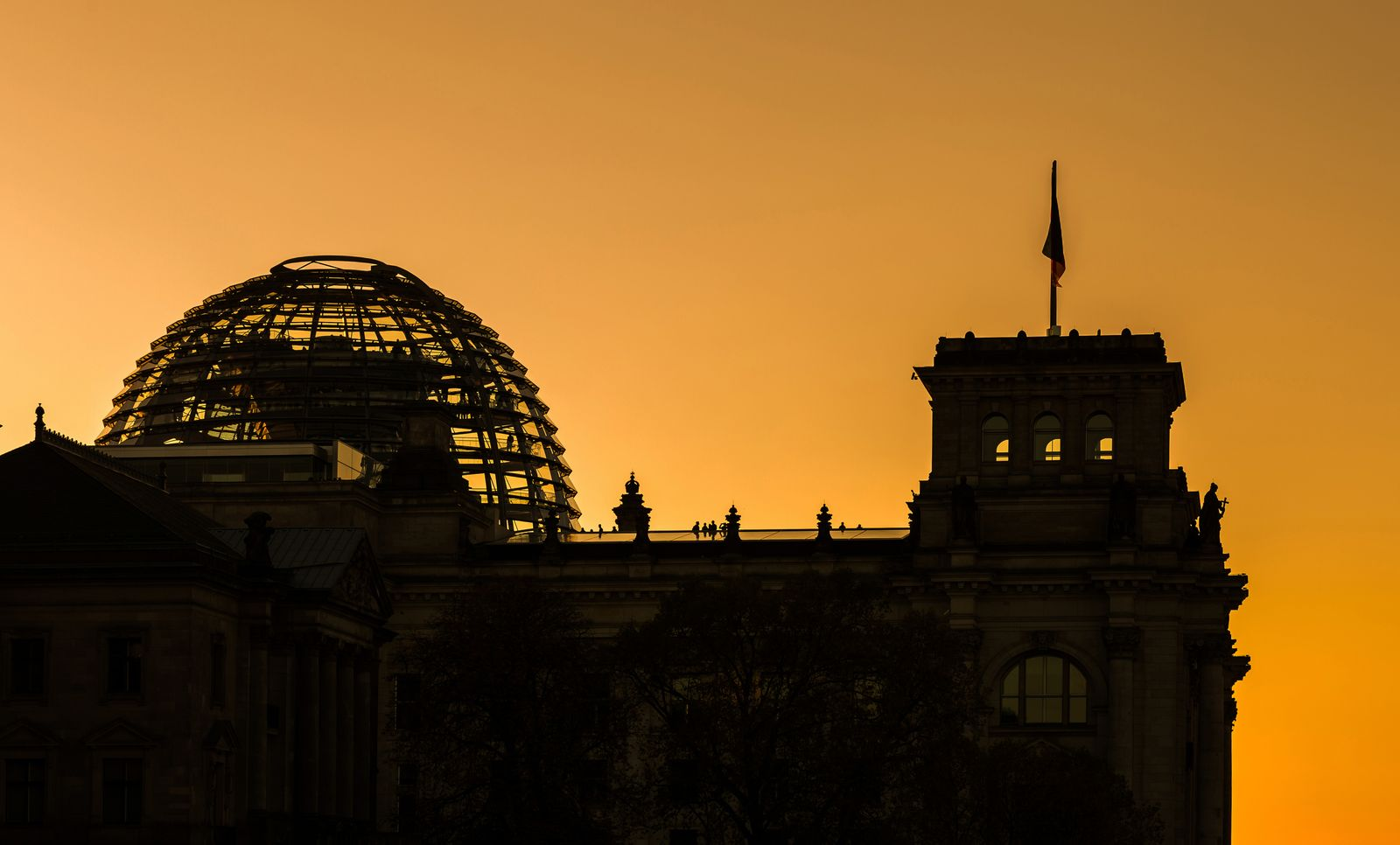 Reichstag building silhouette (German parliament building) - Berlin, Germany