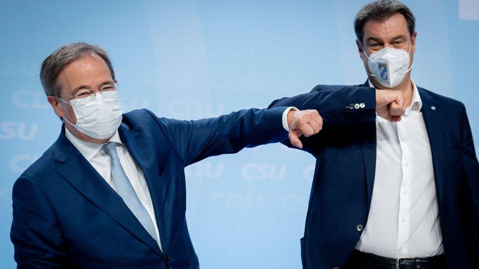 Kanzlerkandidat Armin Laschet und CSU-Chef Markus Söder am 21. Juni in Berlin