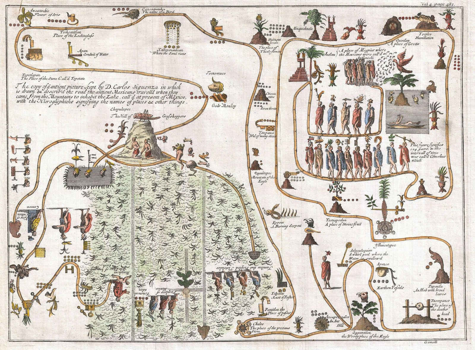 1704 Gemelli Map of the Aztec Migration from Aztlan to Chapultapec PUBLICATIONxINxGERxSUIxAUTxONLY