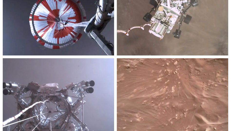 Bilder aus dem Video der Nasa von der Landung ihres Rovers auf dem Mars