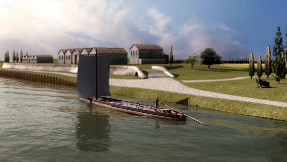 """Römischer Lastkahn (Computergrafik): """"Dieses Schiff ist weltweit einmalig"""""""