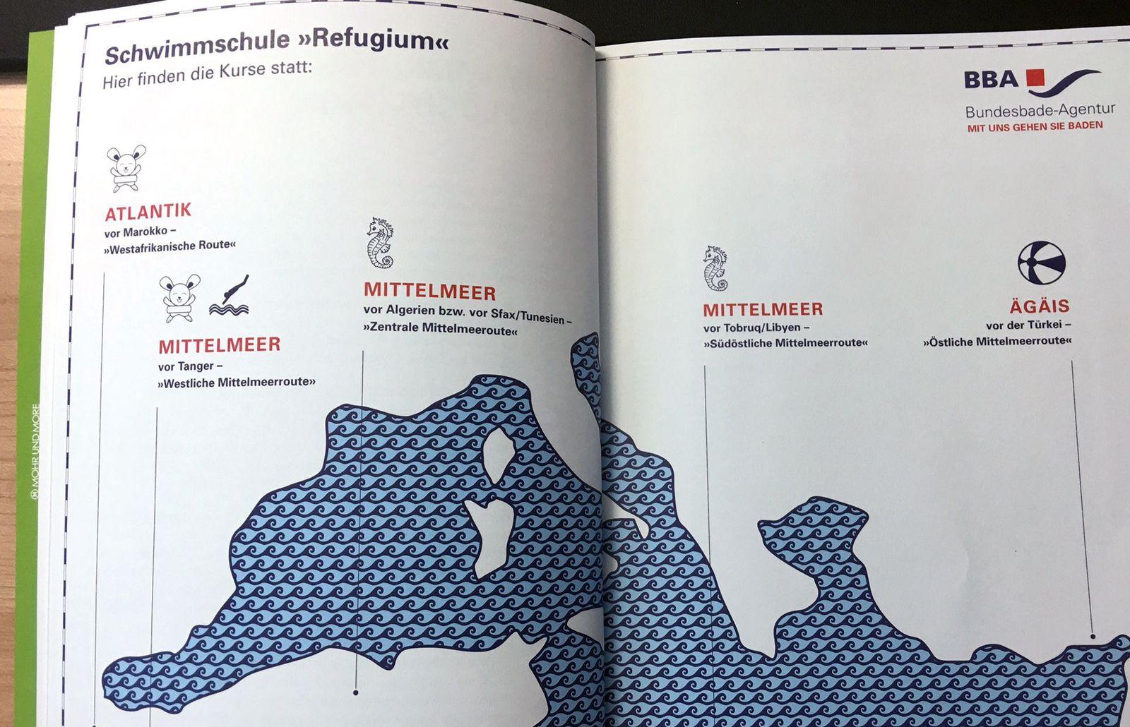 EINMALIGE VERWENDUNG Almanach/ Schwimmkurs für Flüchtlinge NUR ALS ZITAT