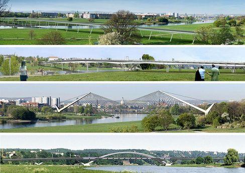 The alternative models for a bridge in Dresden.