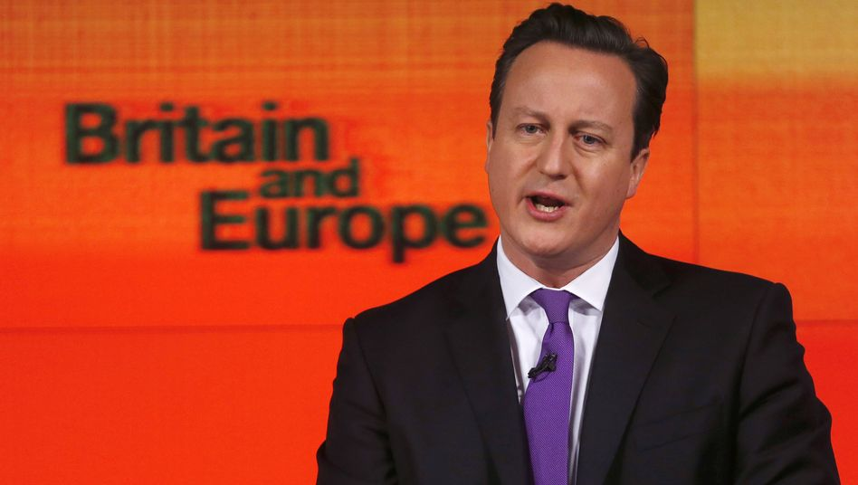 Running scared? David Cameron giving his speech on Wednesday.