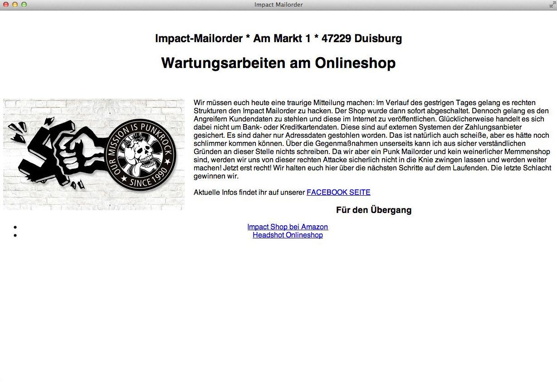 EINMALIGE VERWENDUNG SCREENSHOT Nur als Zitat/ Webshop/ Impact-Mailorder gehackt