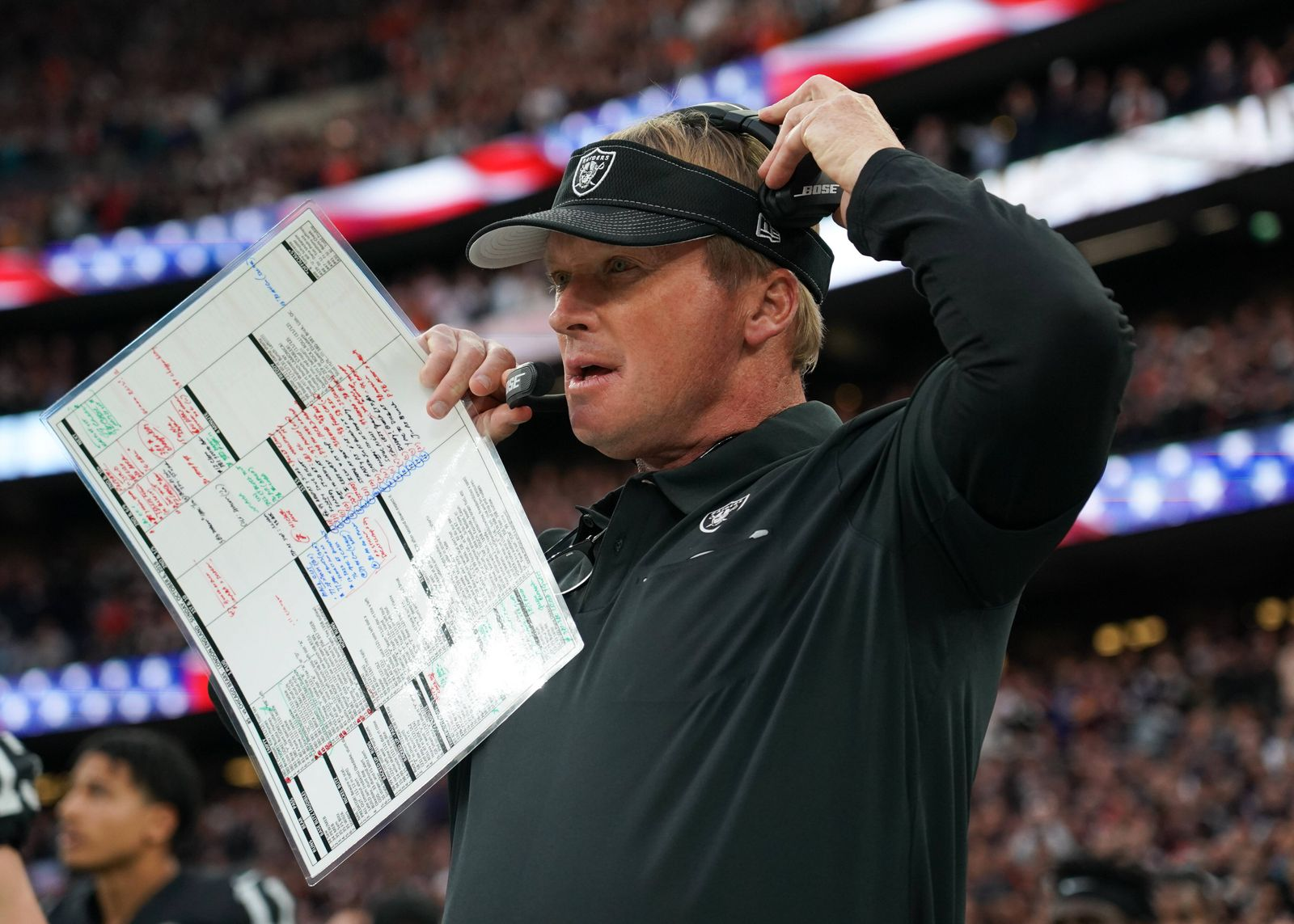 Mandatory Credit: Photo by Jed Leicester/BPI/Shutterstock (10436104bh) Oakland head coach Jon Gruden Oakland Raiders v