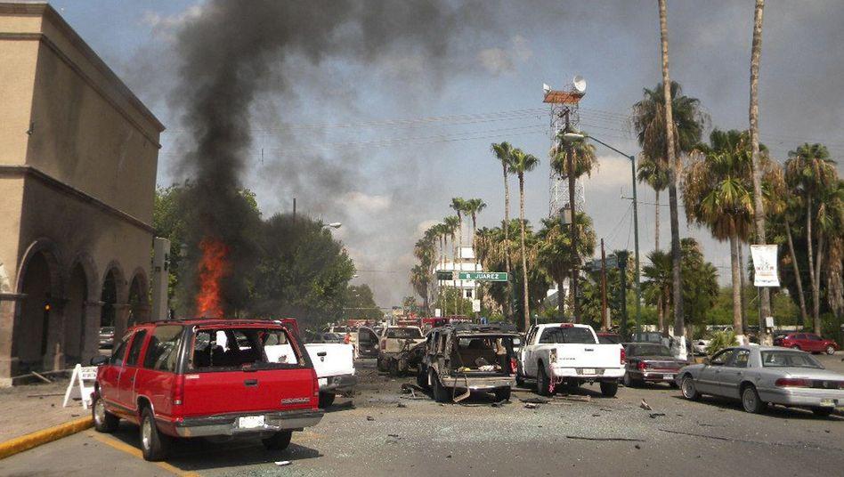 Gewalt der Kartelle: Explosion vor dem Rathaus in Nuevo Laredo im Juni 2012
