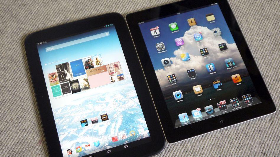 Android Gerät Nexus 10 (links) versus Apples iPad: Die Konkurrenz holt auf
