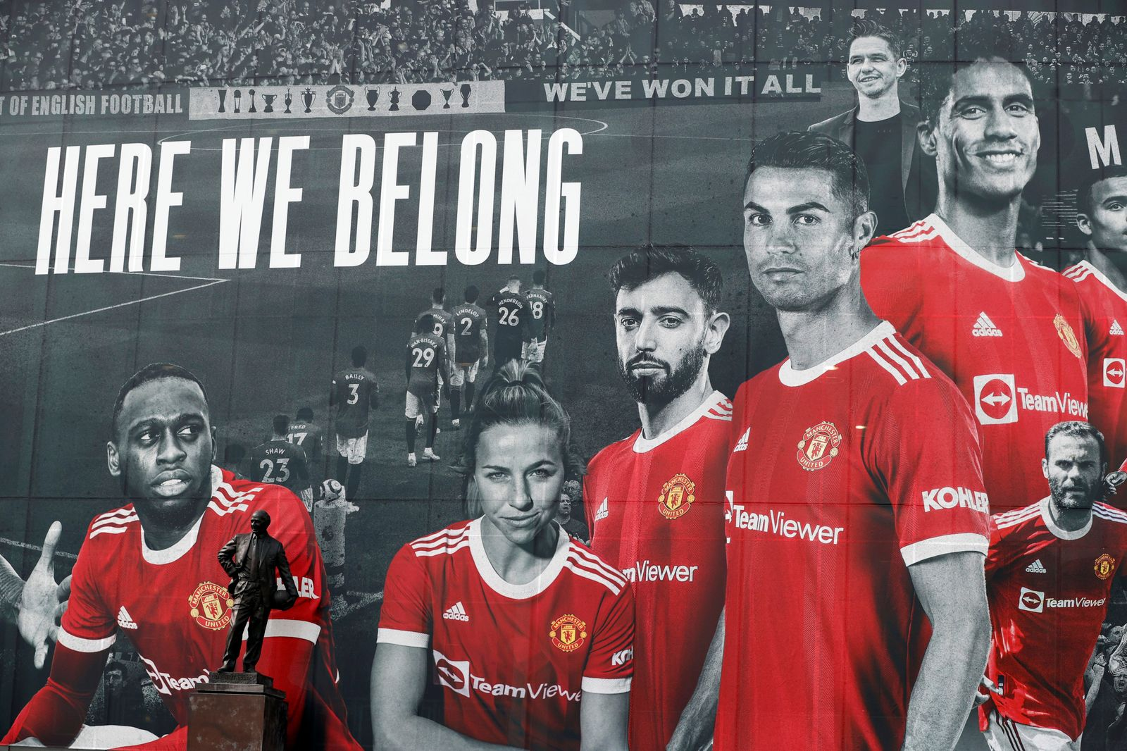 FILE PHOTO: A picture of Cristiano Ronaldo with teammates is displayed on the outside of Old Trafford