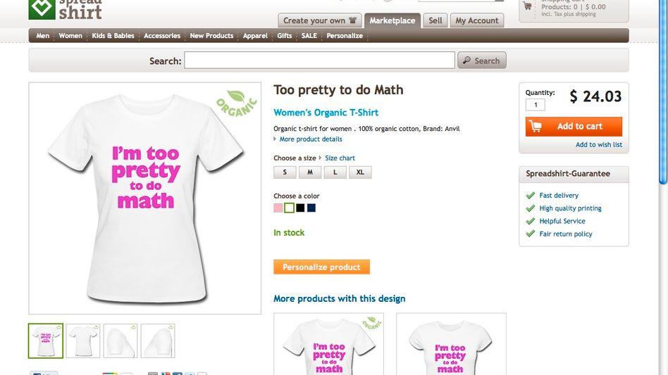 Mädchen-T-Shirt im Online-Shop: Zu hübsch für Mathe?