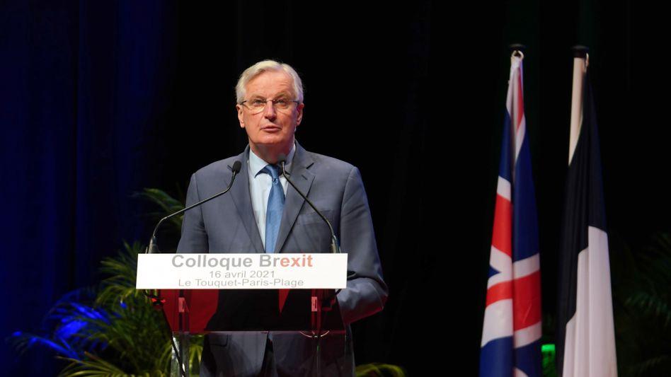 Michel Barnier bei einer Rede Mitte April in Frankreich