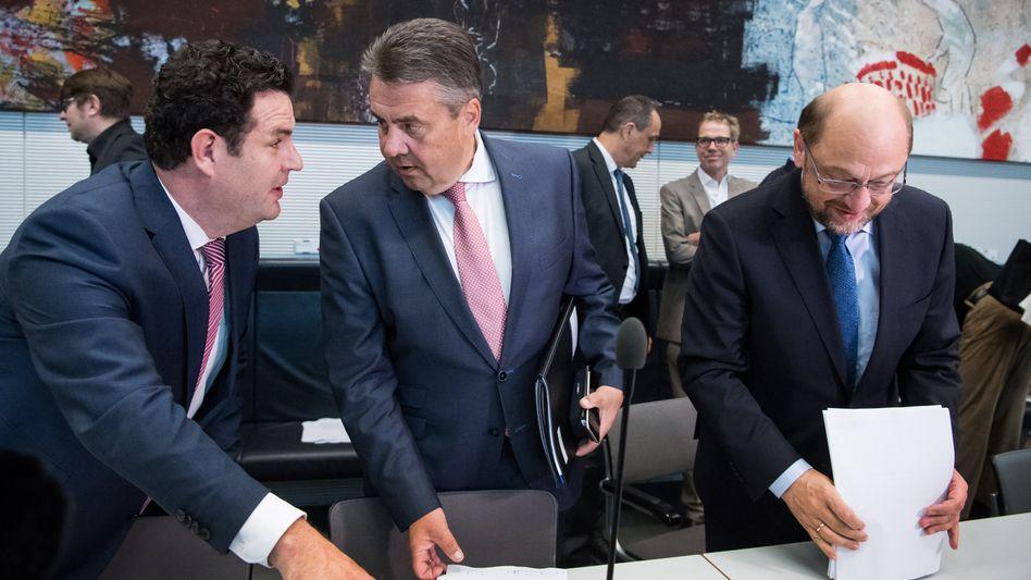 Hubertus Heil, Sigmar Gabriel, Martin Schulz