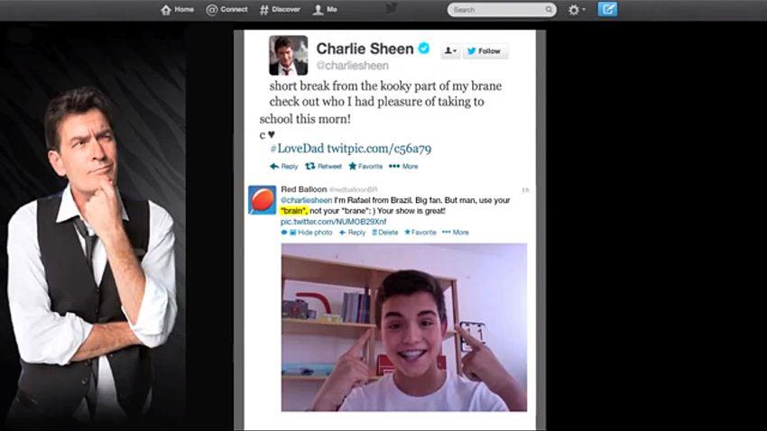 YouTube-Video von Red Balloon: Charlie Sheen schreibt brane statt brain