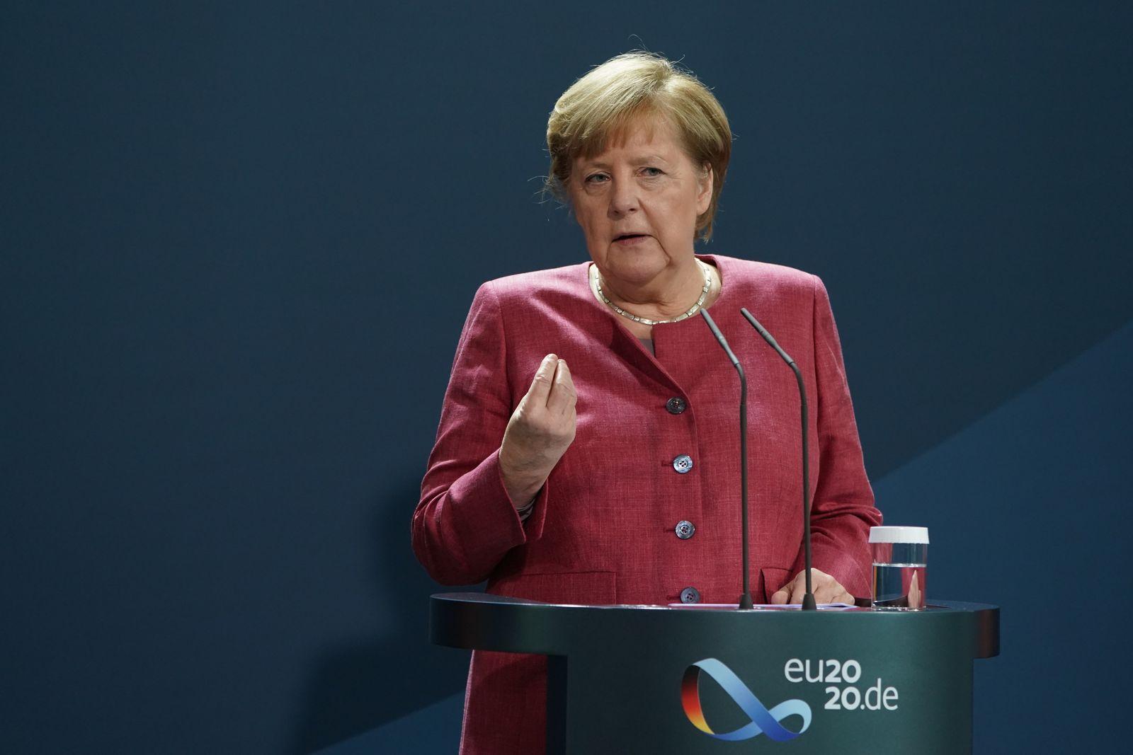 German Chancellor Angela Merkel Gives A Statement On Rising Coronavirus Cases In German Cities