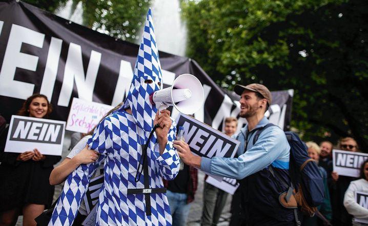 Anti-CSU-Demonstranten in München: Panik bei den Christsozialen
