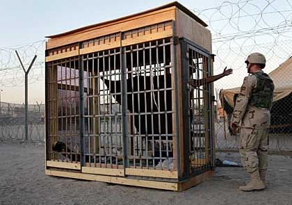 A solitary confinement cage at Iraq's notorious Abu Ghraib prison.