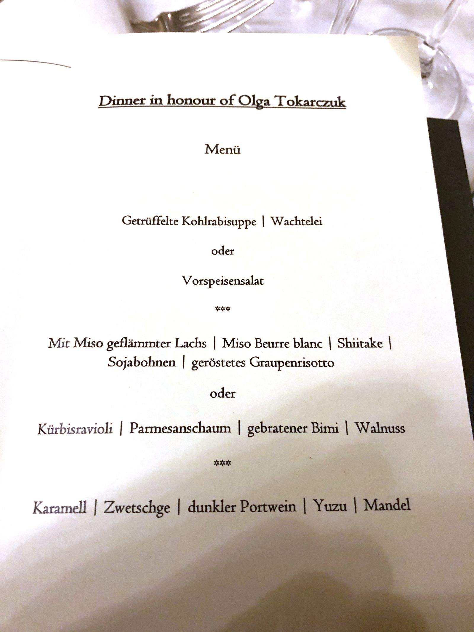 EINMALIGE VERWENDUNG/ Nobelpreis-Dinner