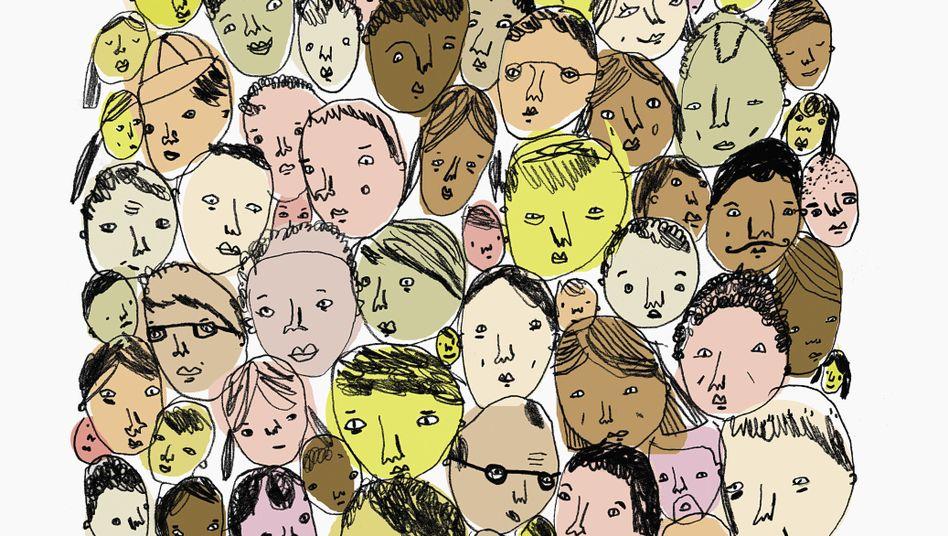 Menschen mit unterschiedlicher Hautfarbe (Illustration)