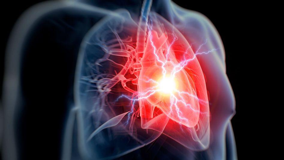 Herzregion im menschlichen Körper (Symbolbild)