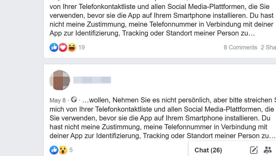 Unter anderem auf Facebook im Umlauf: Nachrichten zur noch gar nicht fertigen Anti-Corona-App