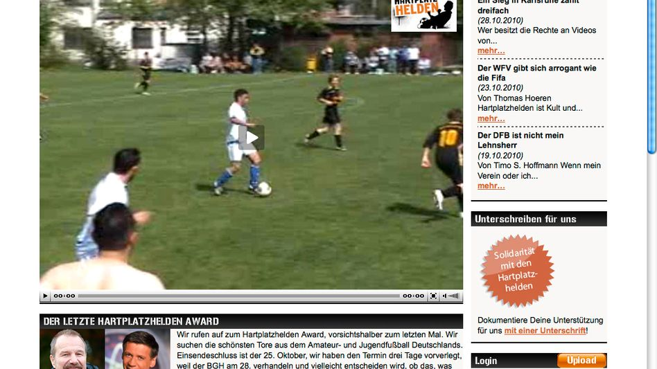 Screenshot der Hartplatzhelden-Seite: Clubs können Besuchern Videoaufnahmen verbieten