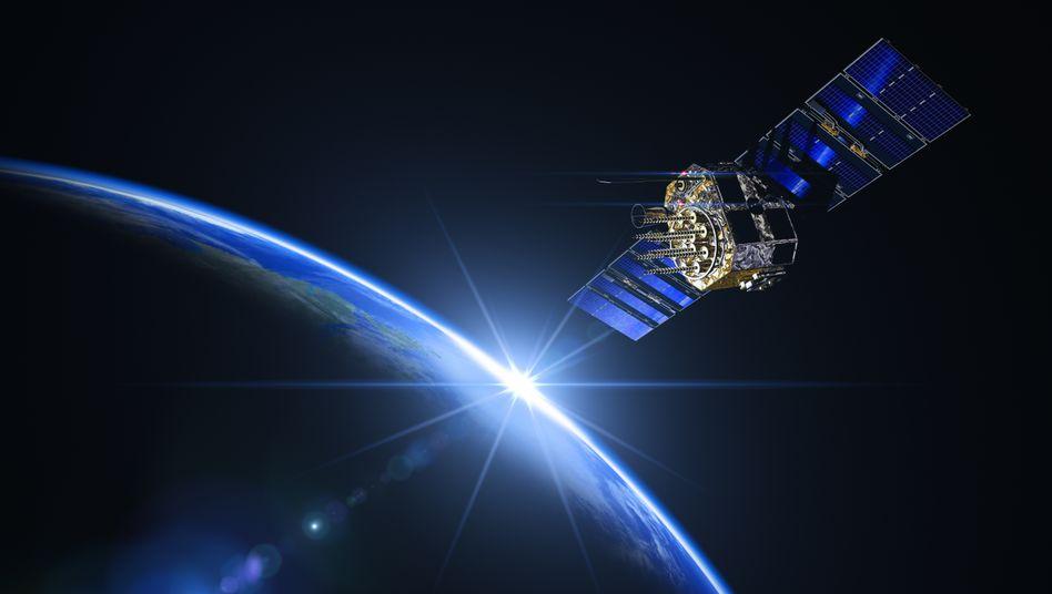 Satellit bei Sonnenaufgang (Computergrafik)