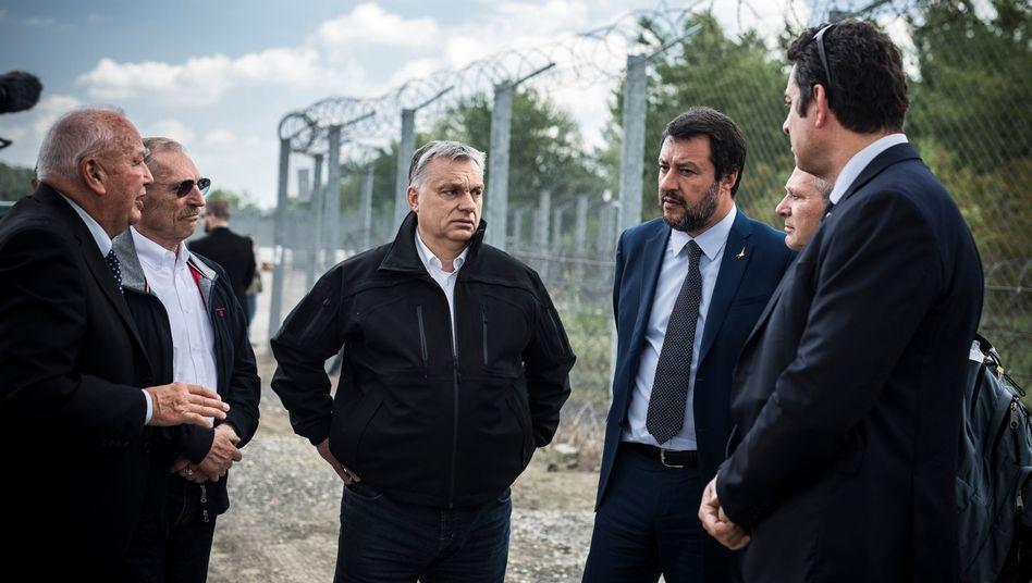 Hungarian Prime Minsiter Viktor Orbán and Italian Interior Minister Matteo Salvini visiting Hungary's border fence.