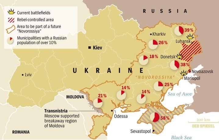 """Map: """"Novorossiya"""" and Eastern Ukraine"""