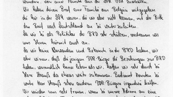 """Briefe von DDR-Bürgern in den Westen: """"Werter Herr Strauß!"""""""