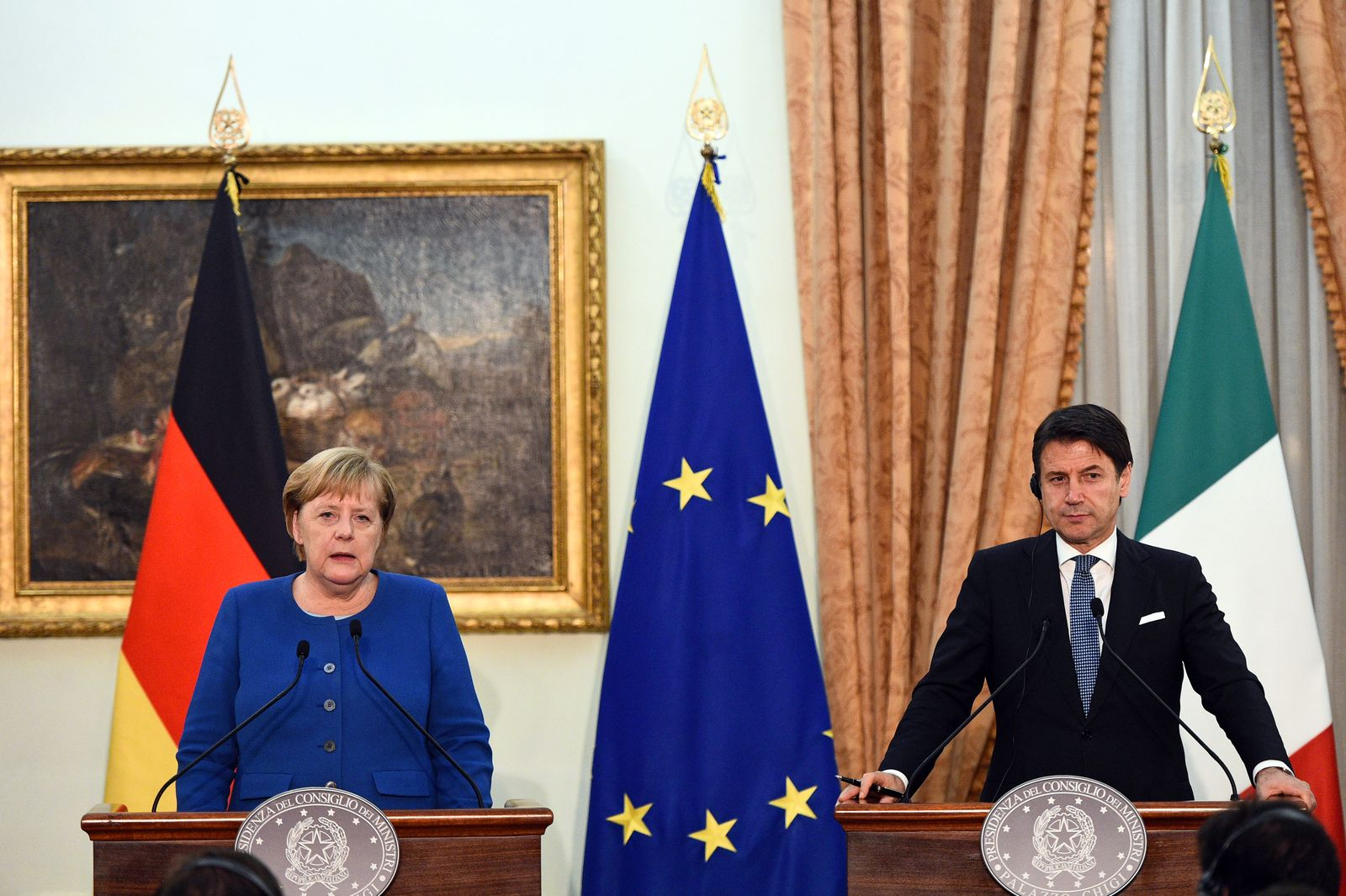German Chancellor Angela Merkel and Italian Prime Minister Giuseppe Conte hold a news conference in Rome