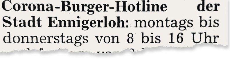 Hinweis in der Tageszeitung »Die Glocke«